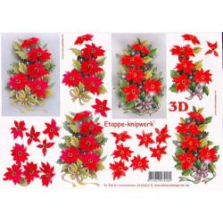 Carte 3D à découper - 2 bouquets Fleurs rouges - 4169304