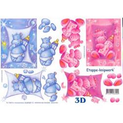 Carte 3D à découper - Bébés hippopotames - 4169307