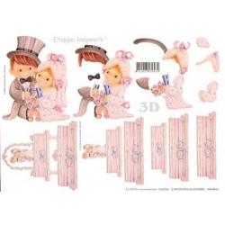Carte 3D à découper - Mariés en rose - 416934