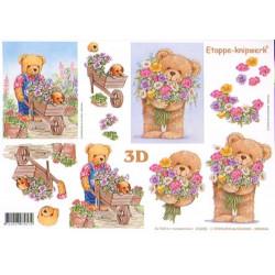 Carte 3D à découper - Ourson jardine - 416935