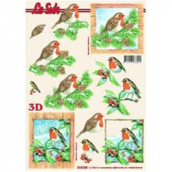 Carte 3D à découper - Rouge-gorges encadrés - 4169355