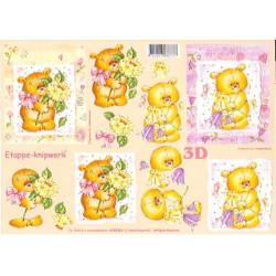 Carte 3D à découper - Ourson et bouquets - 4169364
