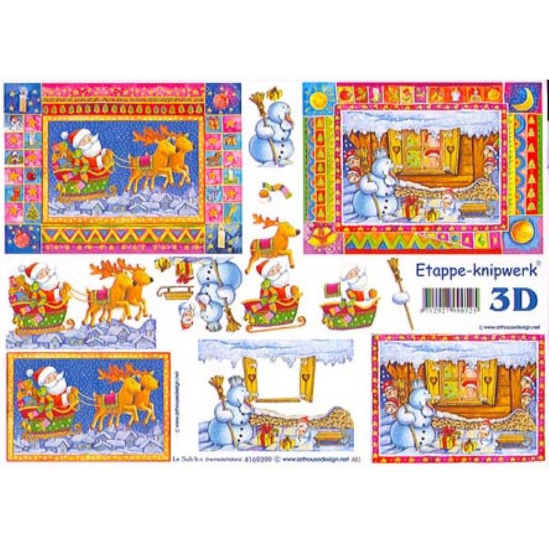 Carte 3D à découper - Père-noël en traineau - 4169399