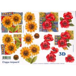 Carte 3D à découper - Tournesols et Fleur rouges - 4169443