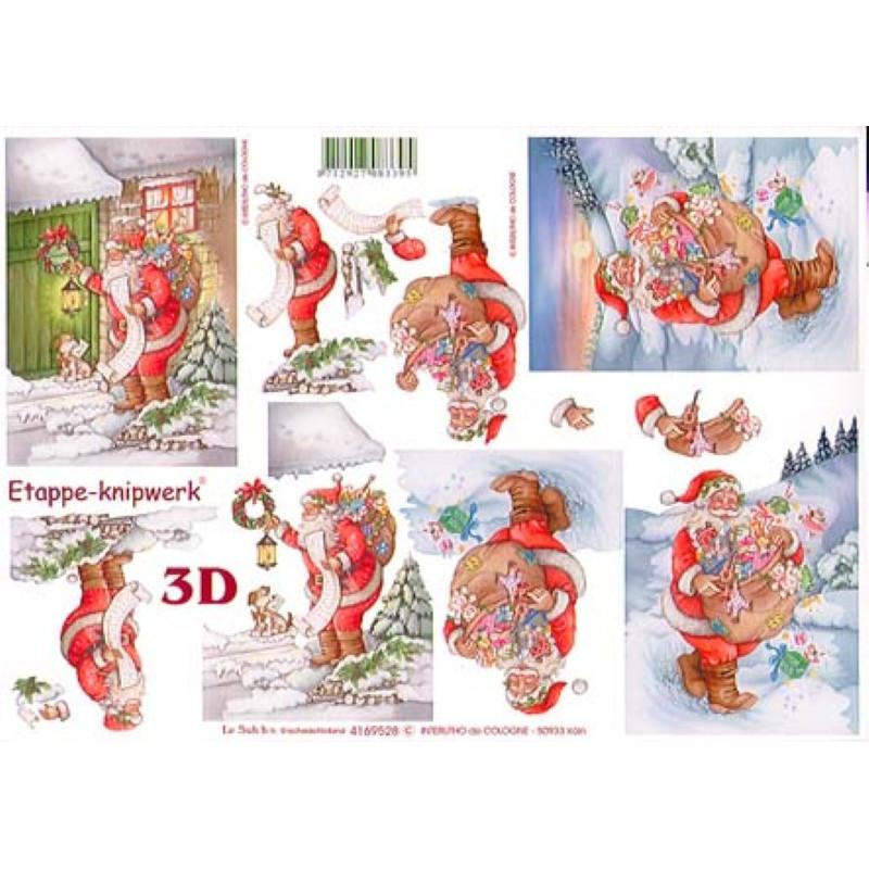 Carte 3D à découper - Père noël distribue cadeaux - 4169528