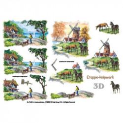 Carte 3D à découper - Moulin à la campagne - 416953