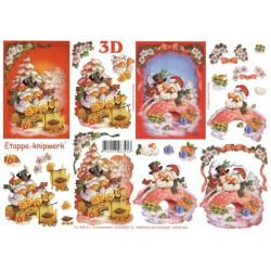 Carte 3D à découper - Oies fêtent Noël - 4169583
