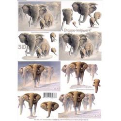 Carterie 3D A4  - Eléphants dans la poussière - 4169594