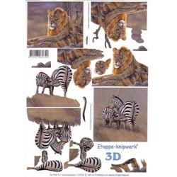 Carterie 3D A4  - Lion et zèbres - 4169598