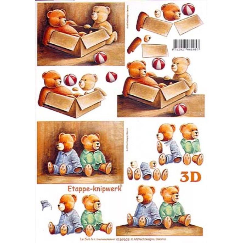 Carterie 3D A4 - Couples d'ourson/panier - 4169638