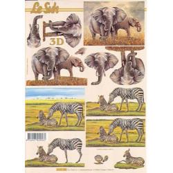 Carte 3D à découper - Eléphants et zèbres - 4169700