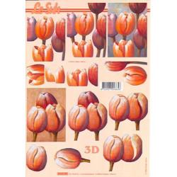 Carte 3D à découper - Tulipes orangées - 4169701