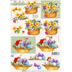 Carte 3D à découper - Fleur dans un panier - 4169702