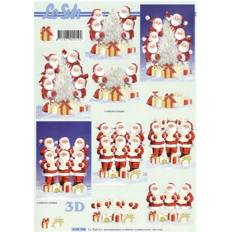 Carte 3D à découper - Pères noël chantent - 4169706