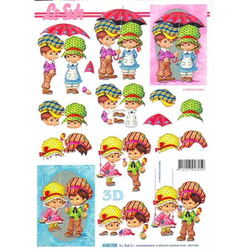 Carte 3D à découper - enfants sous parapluie - 4169725