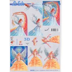 Carte 3D à découper - Fées robes jaune/bleue - 4169726
