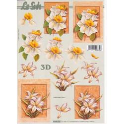 Carte 3D à découper - Fleur fond orangé - 4169727