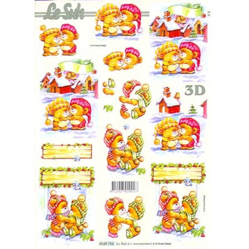 Carte 3D à découper - Ourson rose/vert s'embrassent - 4169734