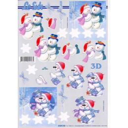 Carte 3D à découper - Bonhommes de neige - 4169736
