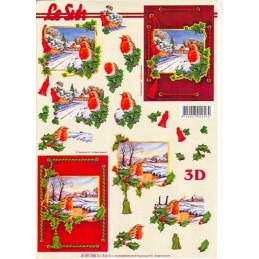 Carte 3D à découper - Rouge gorge encadrés - 4169744