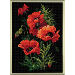 Kit Diamond Mosaic - Les coquelicots rougeoyants - broderie diamant