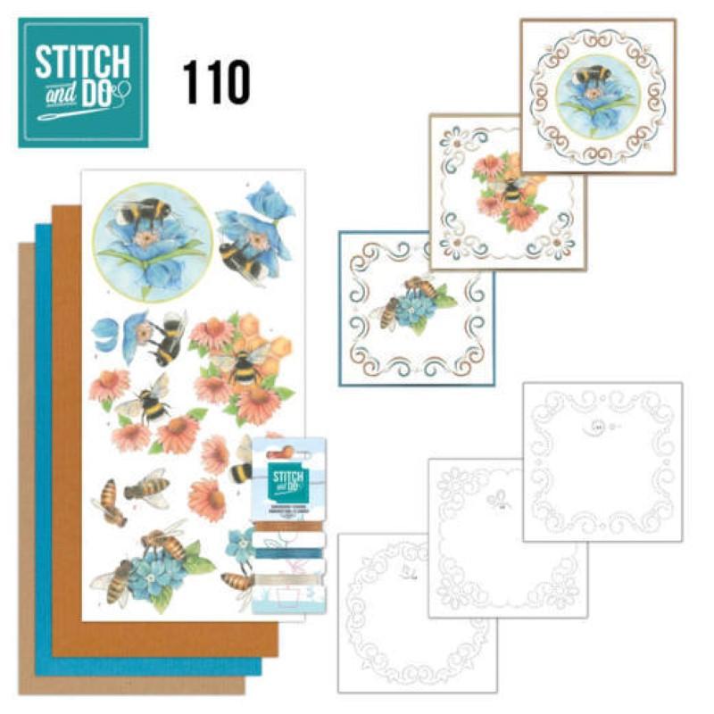 Stitch and do 110 - kit Carte 3D broderie - Abeilles et fleurs