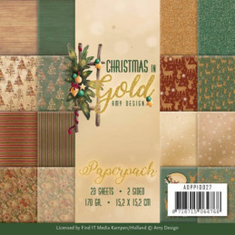 Bloc de papier - Amy Design - Christmas in gold 15.2 x 15.2