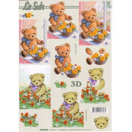 Carte 3D à découper -  oursons et fleurs - 4169745