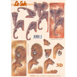 Carte 3D à découper - Lion et éléphant - 4169756