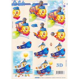 Carte 3D à découper - petit train et bateaux - 4169762