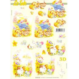 Carte 3D à découper - Lapins de Pâques - 4169783