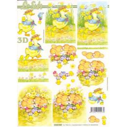 Carte 3D à découper - Lapins et canards de Pâques - 4169789