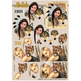 Carte 3D à découper - Femme et animaux - 4169798