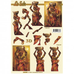 Carte 3D à découper - Africaine peinture - 4169892