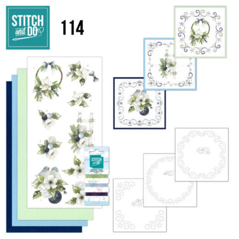 Stitch and do 114 - kit Carte 3D broderie - Noël aux bleuets