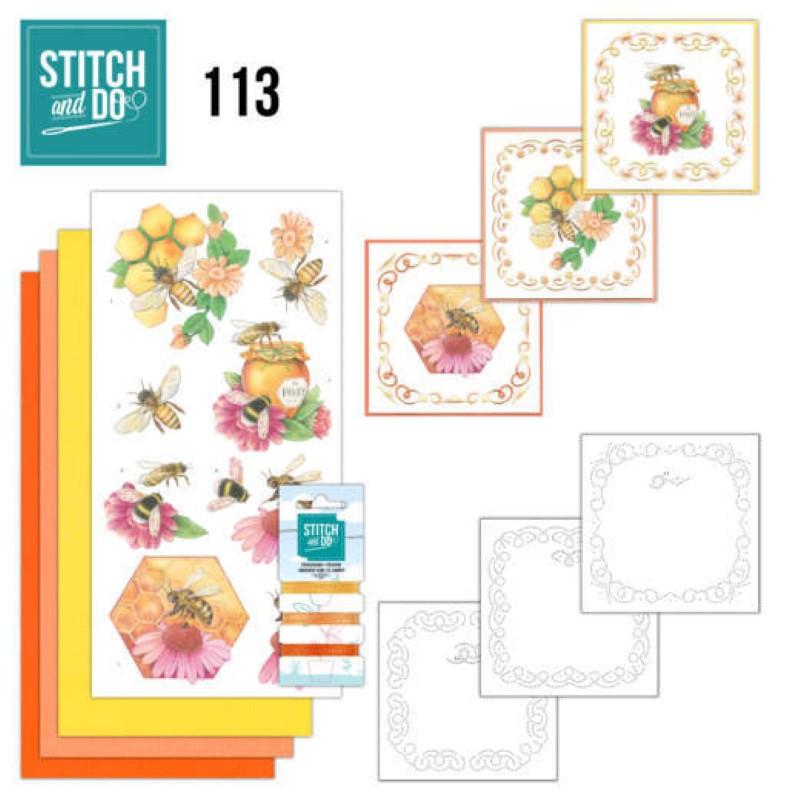 Stitch and do 113 - kit Carte 3D broderie - Abeille et Miel