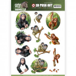 Carte 3D prédéc. - SB10349 - Wild Animals - Petits singes