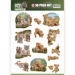 Carte 3D prédéc. - SB10352 - Wild Animals - bébés fauves