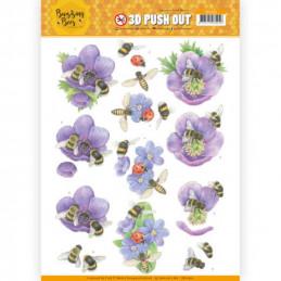 Carte 3D prédéc. - SB10365 -  Buzzing Bees - Abeilles et fleurs mauves