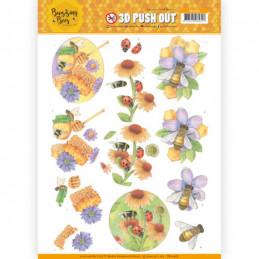 Carte 3D prédéc. - SB10368 -  Buzzing Bees - Abeilles et coccinelles