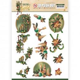 Carte 3D prédéc. - SB10369 - Christmas in Gold - Lanternes de Noël