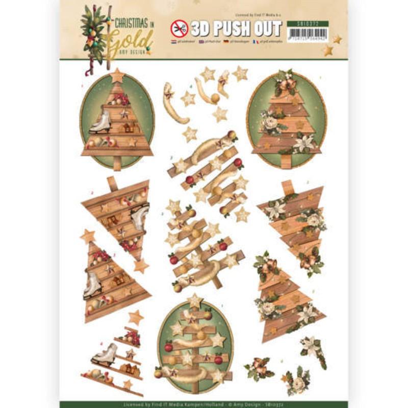 Carte 3D prédéc. - SB10372 - Christmas in Gold - Sapins de Noël