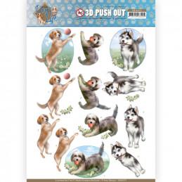Carte 3D prédéc. - SB10377 -  Dog's Life - Chiens joueurs