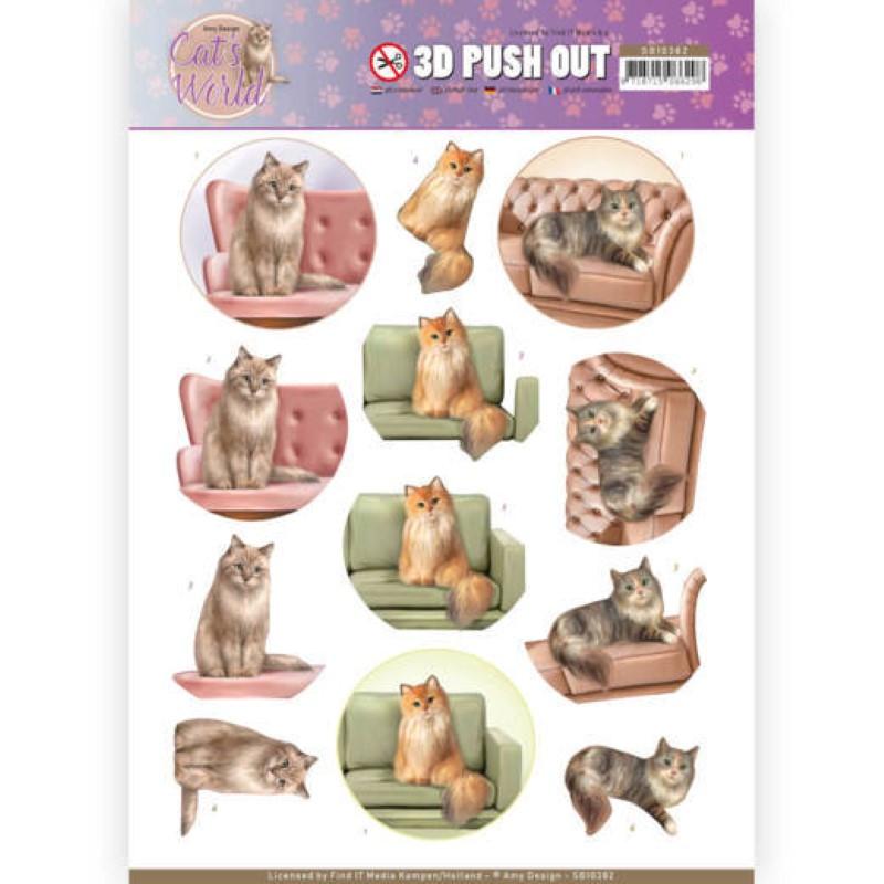 Carte 3D prédéc. - SB10382 - Cats World - Chats dans canapé
