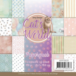Bloc de papier - Amy Design - Cats world 15.2 x 15.2