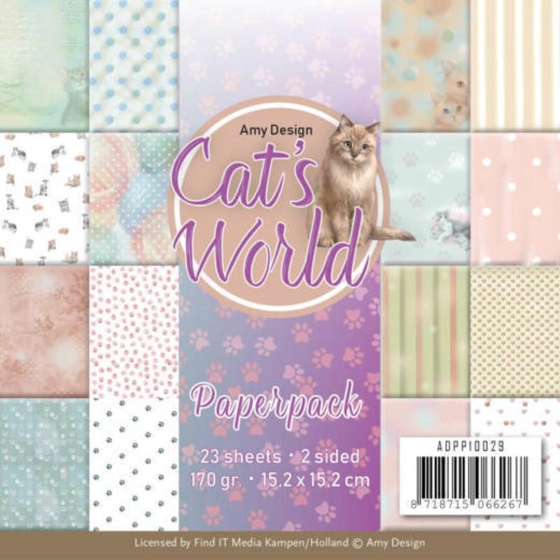 Bloc de papier - Amy Design - Cats world 15.2 x 15.2