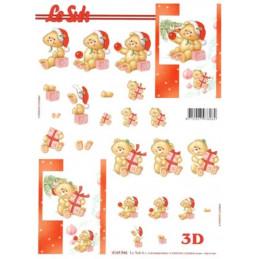 Carte 3D à découper -  Ourson jaune et cadeaux - 4169946