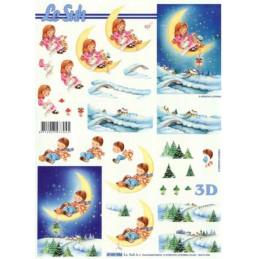 Carte 3D à découper -  Enfants allongés - 4169956