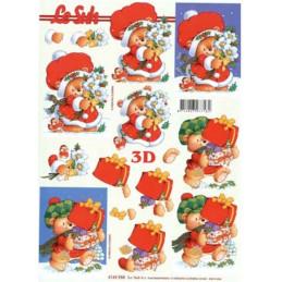 Carte 3D à découper - Ourson porte les cadeaux - 4169958