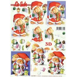 Carte 3D à découper - Ourson apporte les cadeaux - 4169959